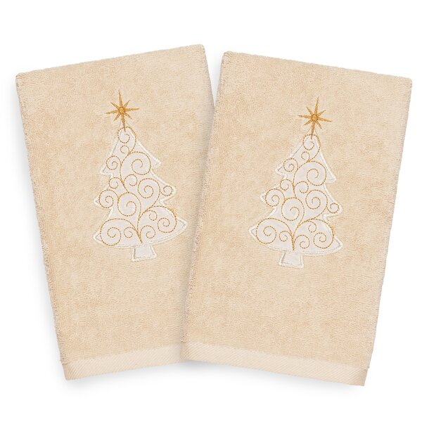 Beam Scroll Tree Embroidered Luxury 100% Turkish Cotton Hand Towel (Set of 2) by The Holiday Aisle